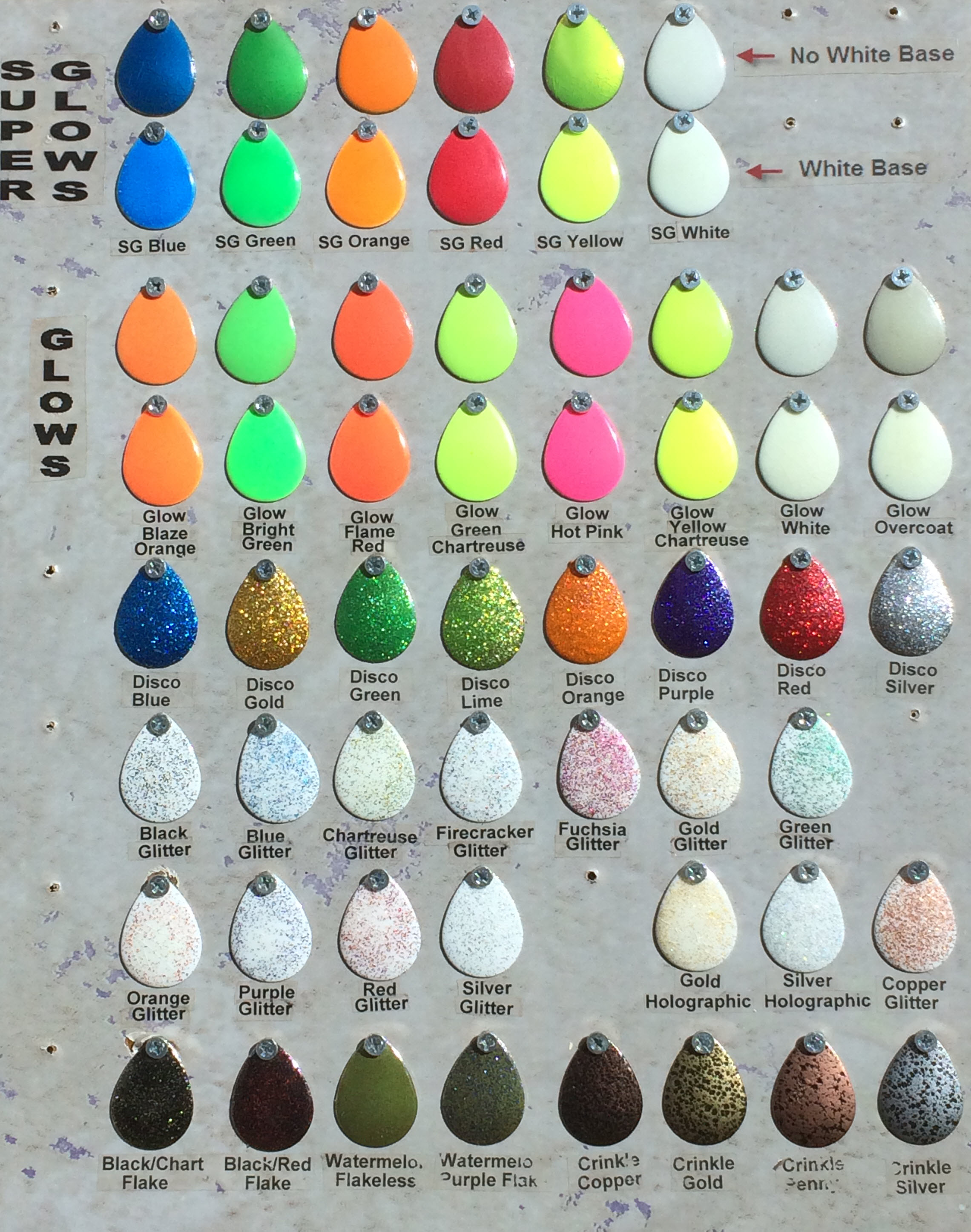 Pro tec powder paint and pro flake glitter paint links to color charts board 1 nvjuhfo Images